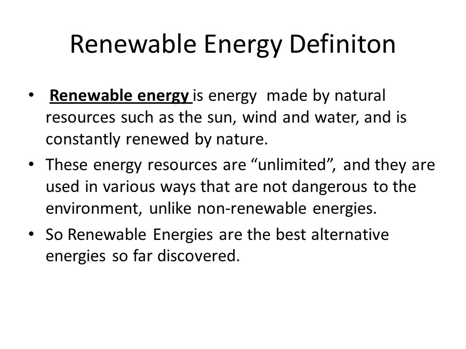 Renewable Energy Definiton