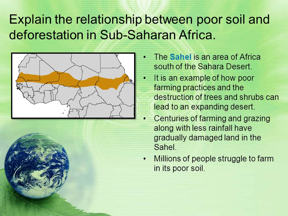 Explain the relationship between poor soil and deforestation in Sub-Saharan Africa.