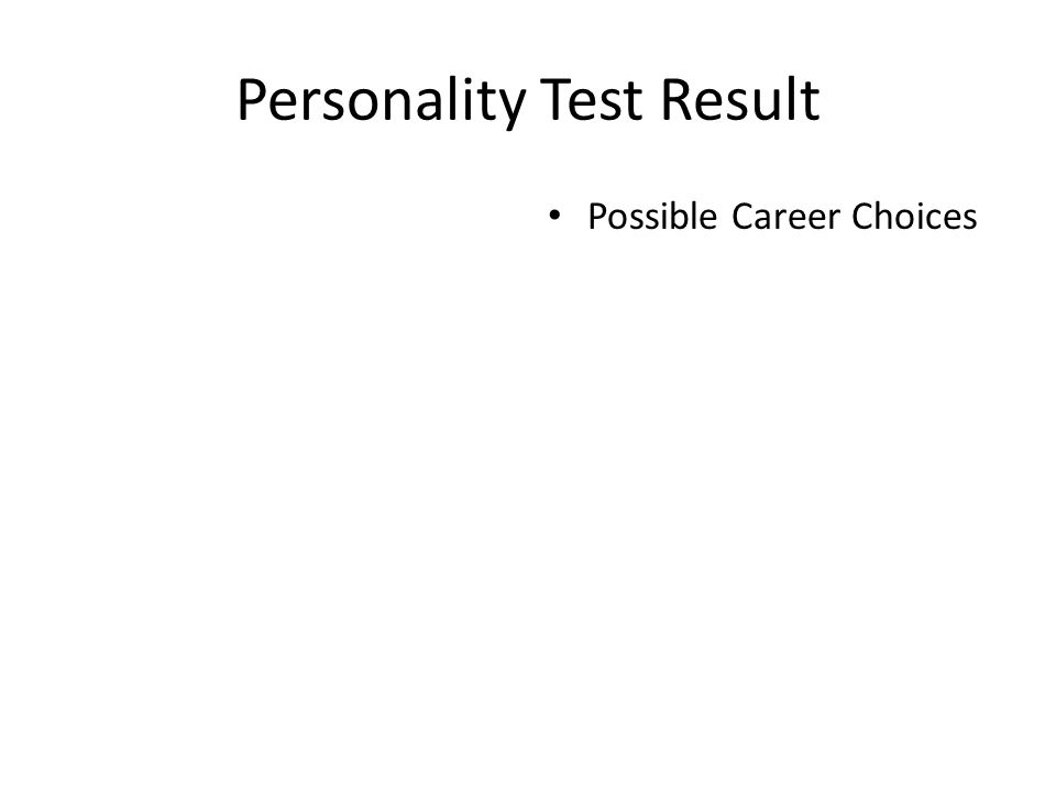 Personality Test Result