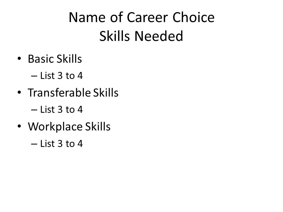 Name of Career Choice Skills Needed