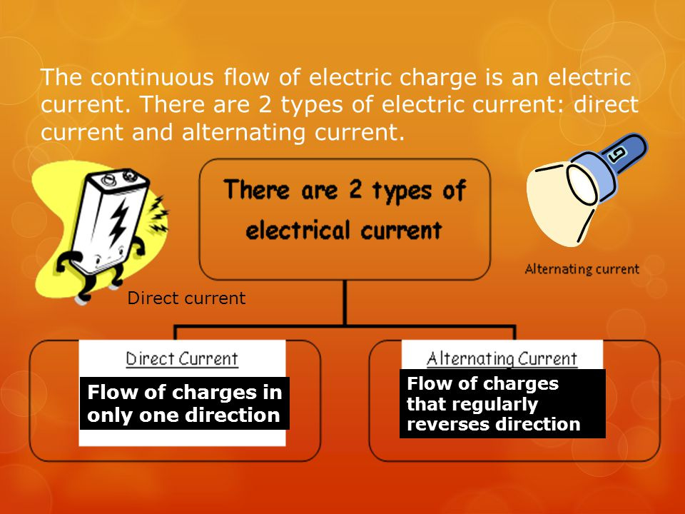 The continuous flow of electric charge is an electric current