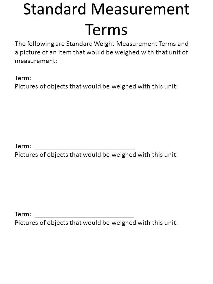 Standard Measurement Terms