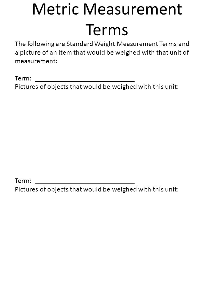 Metric Measurement Terms