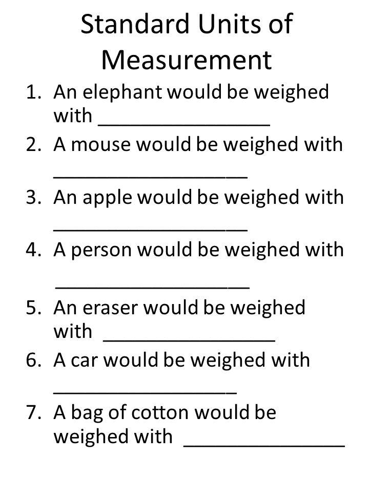Standard Units of Measurement