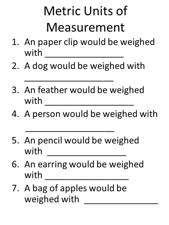 Metric Units of Measurement