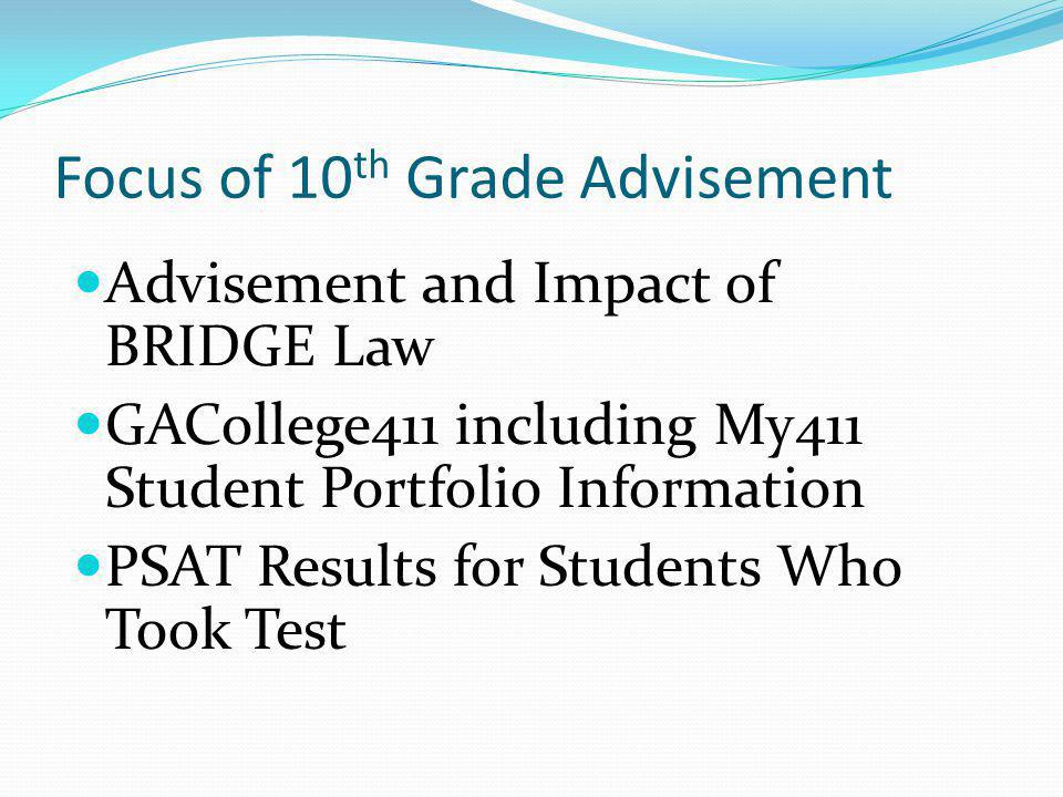 Focus of 10th Grade Advisement