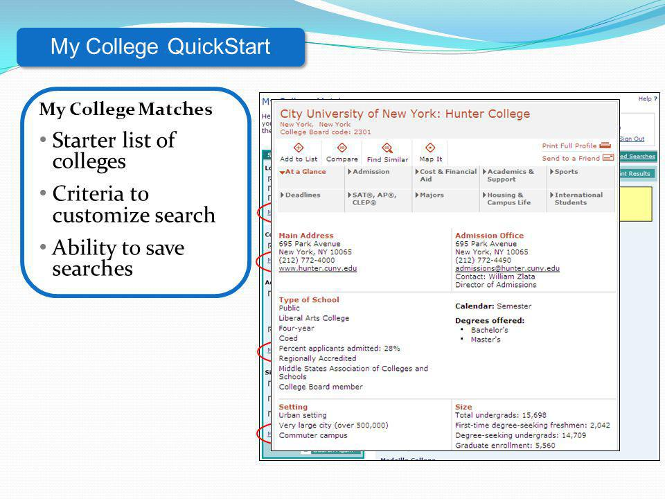 Starter list of colleges Criteria to customize search