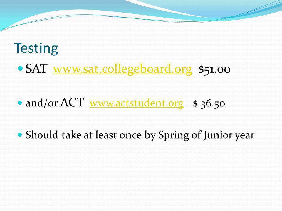 Testing SAT www.sat.collegeboard.org $51.00