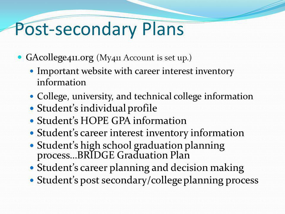 Post-secondary Plans Student's individual profile