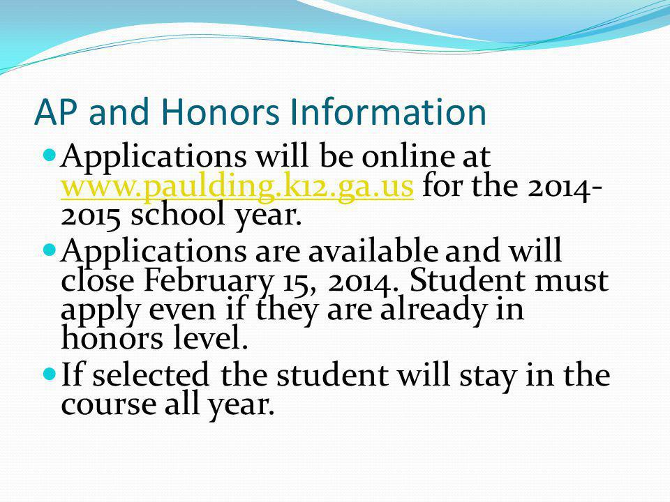 AP and Honors Information