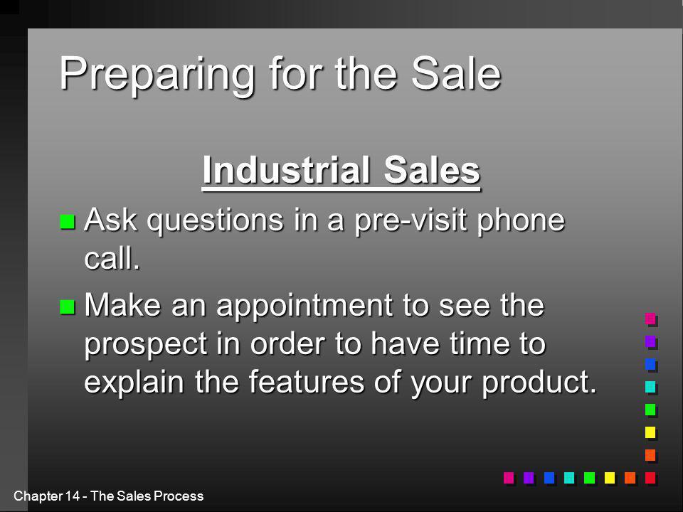Preparing for the Sale Industrial Sales