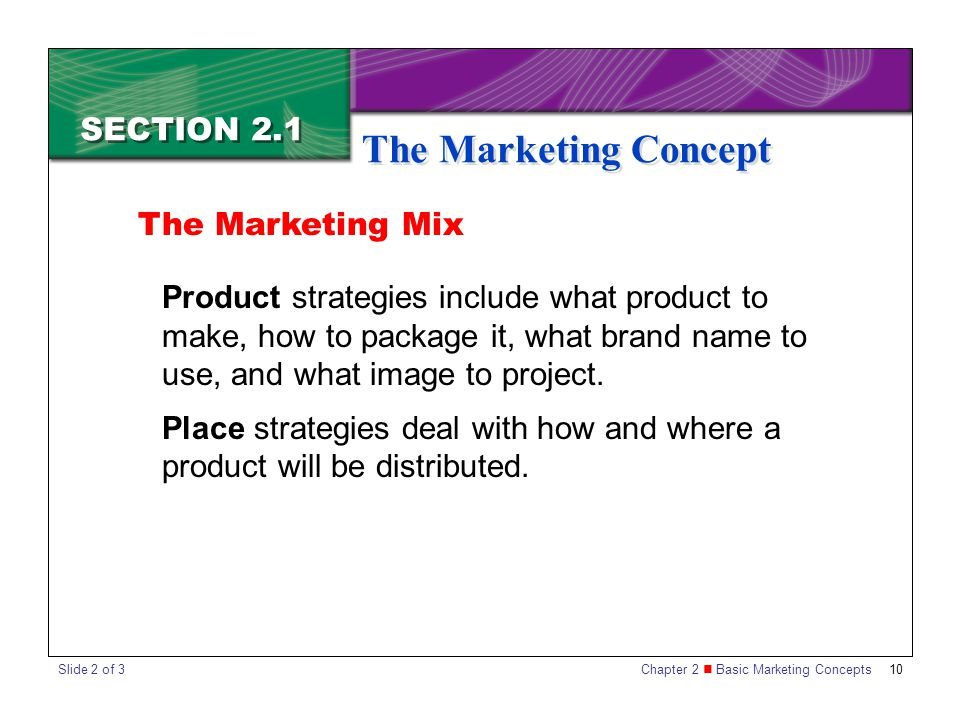 The Marketing Concept SECTION 2.1 The Marketing Mix