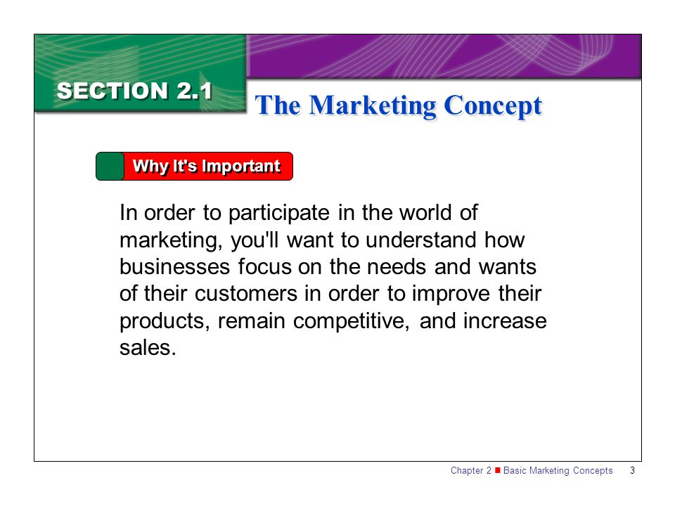 The Marketing Concept SECTION 2.1