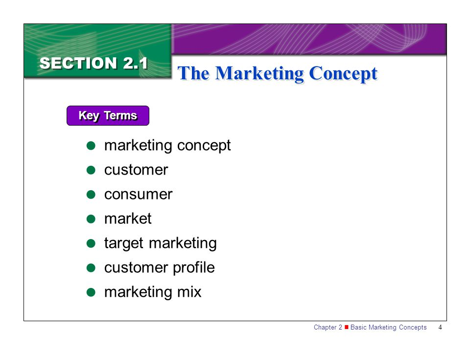 The Marketing Concept SECTION 2.1 marketing concept customer consumer