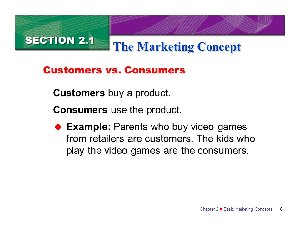 The Marketing Concept SECTION 2.1 Customers vs. Consumers
