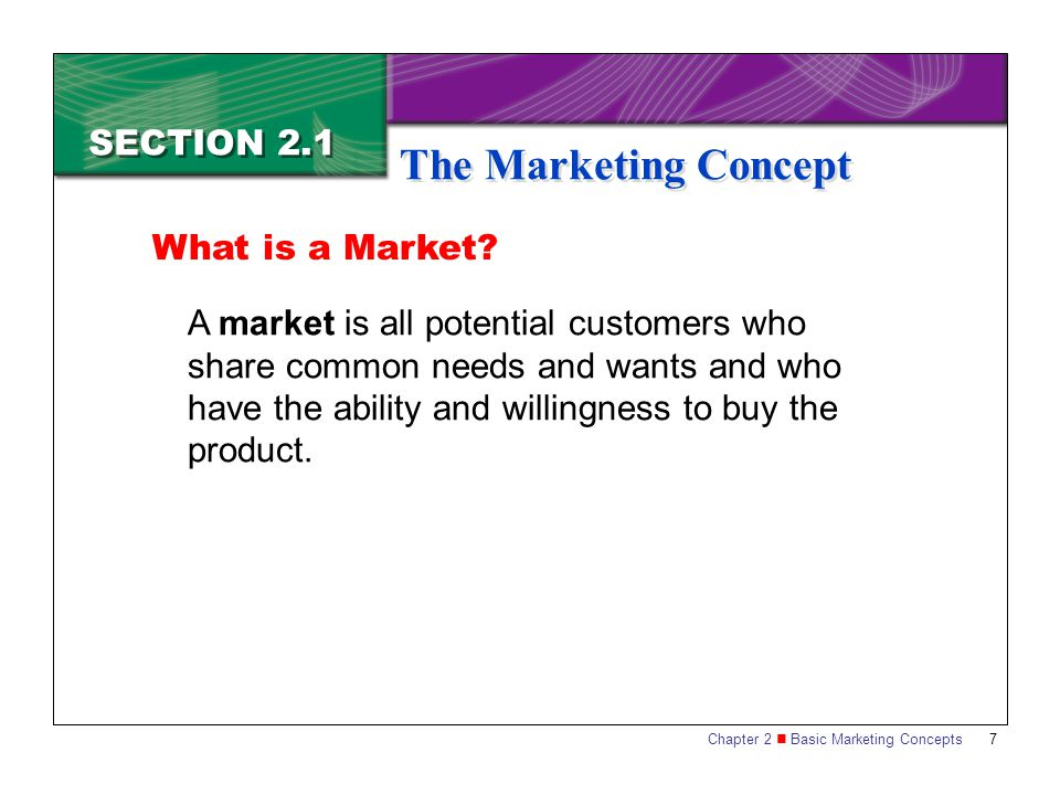 The Marketing Concept SECTION 2.1 What is a Market