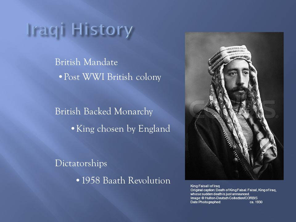 Iraqi History British Mandate Post WWI British colony