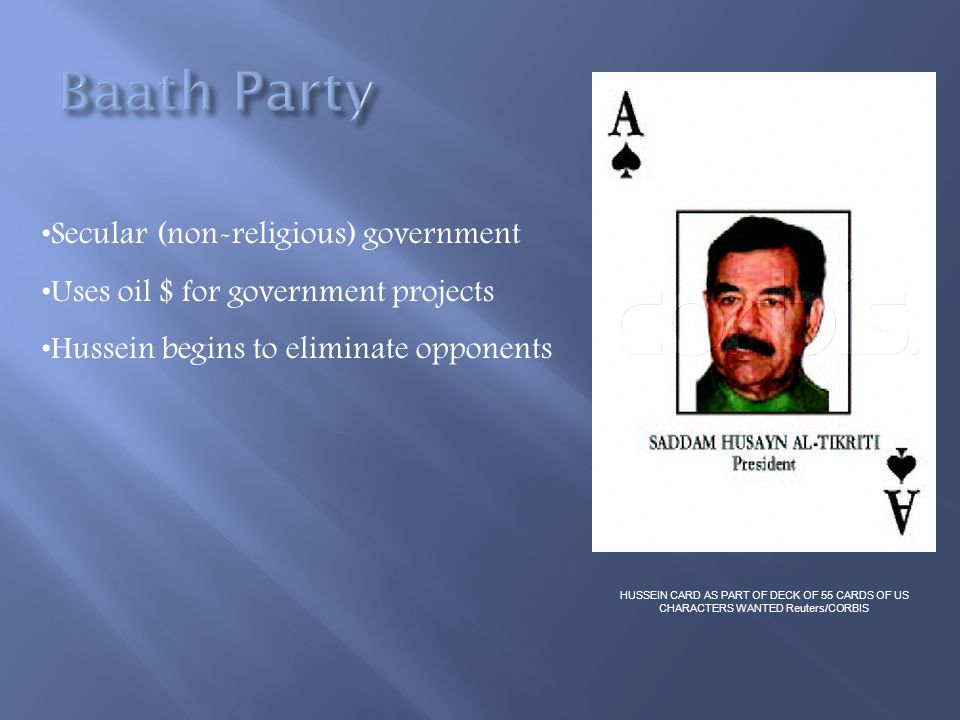 Baath Party Secular (non-religious) government