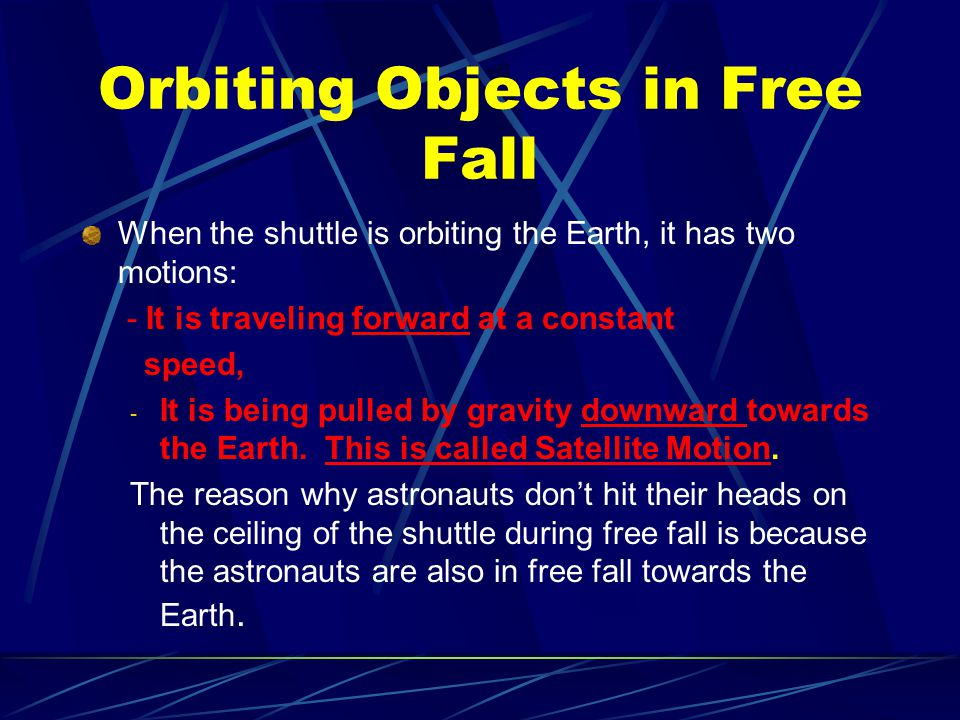 Orbiting Objects in Free Fall