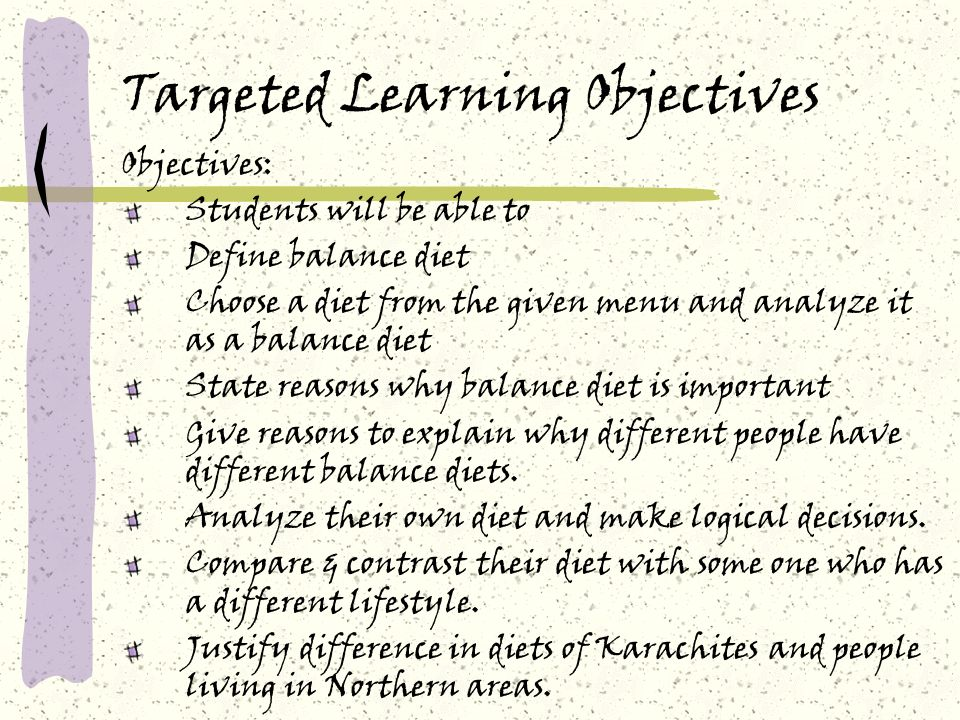 Targeted Learning Objectives