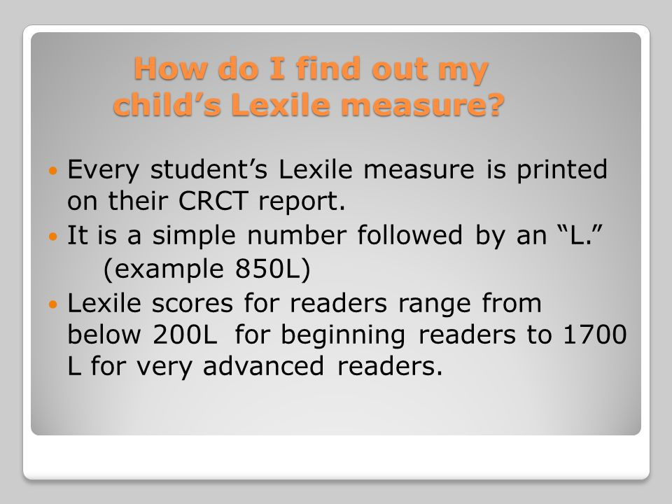 How do I find out my child's Lexile measure