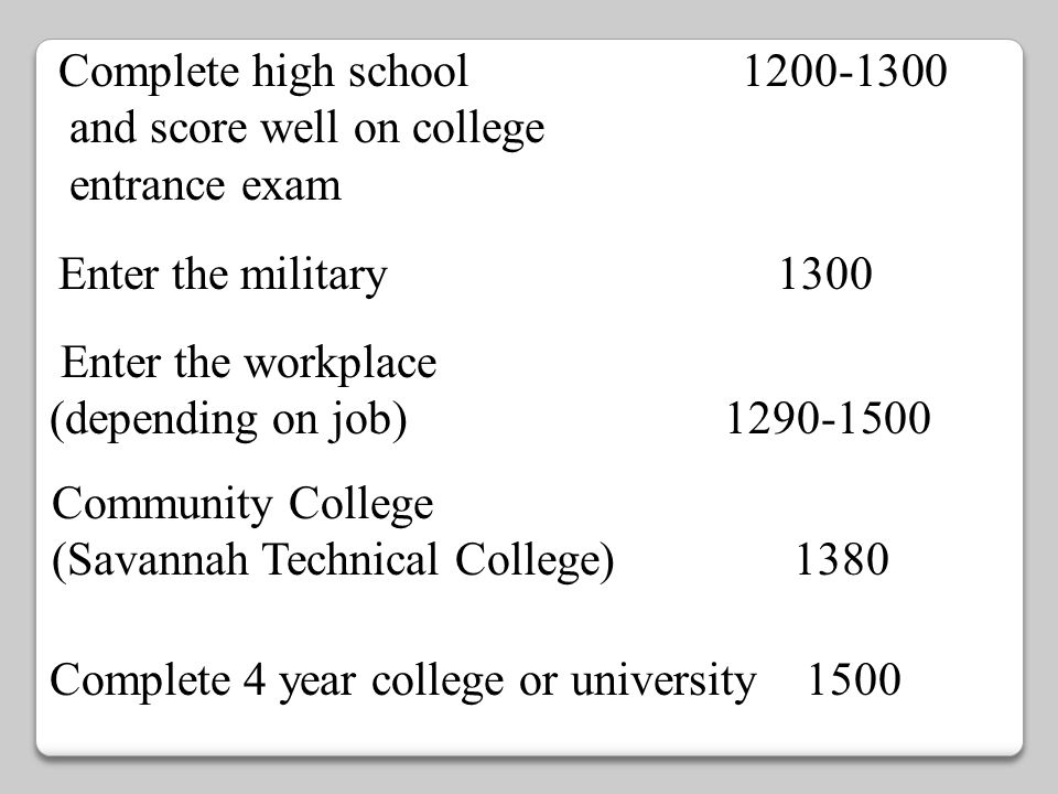 Complete high school 1200-1300 and score well on college. entrance exam.