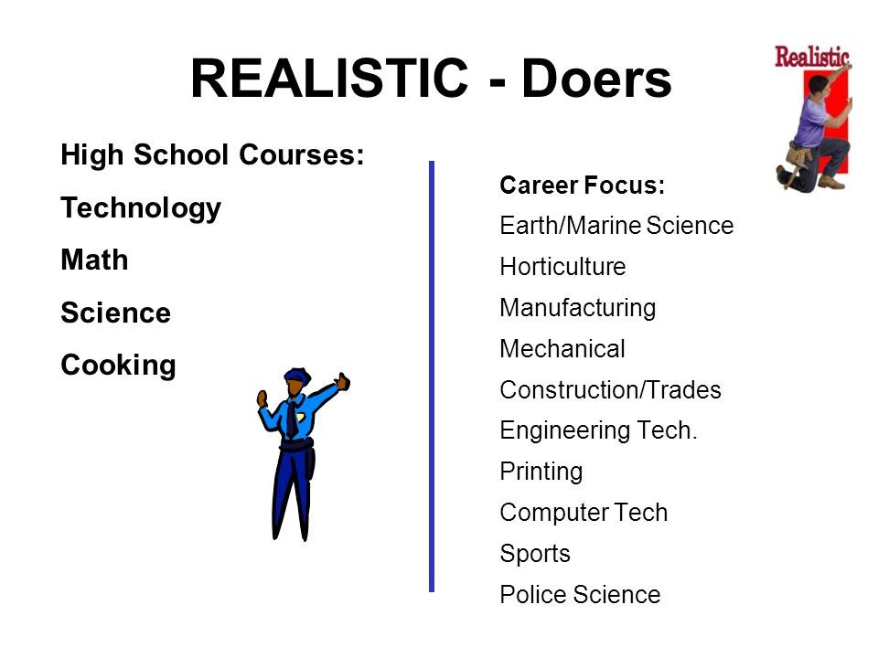 REALISTIC - Doers High School Courses: Technology Math Science Cooking