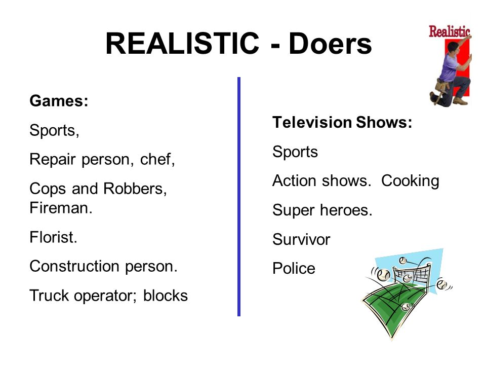 REALISTIC - Doers Games: Sports, Television Shows:
