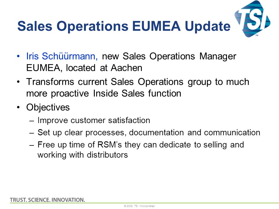 Sales Operations EUMEA Update