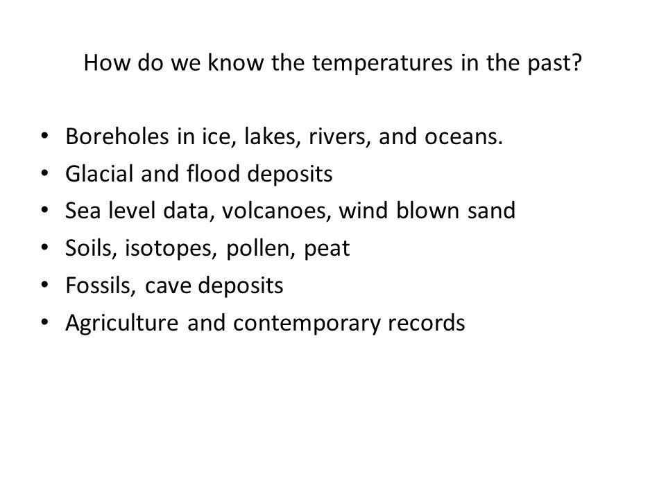 How do we know the temperatures in the past