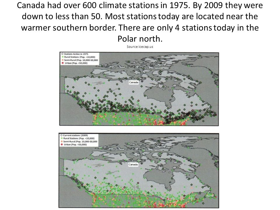 Canada had over 600 climate stations in 1975