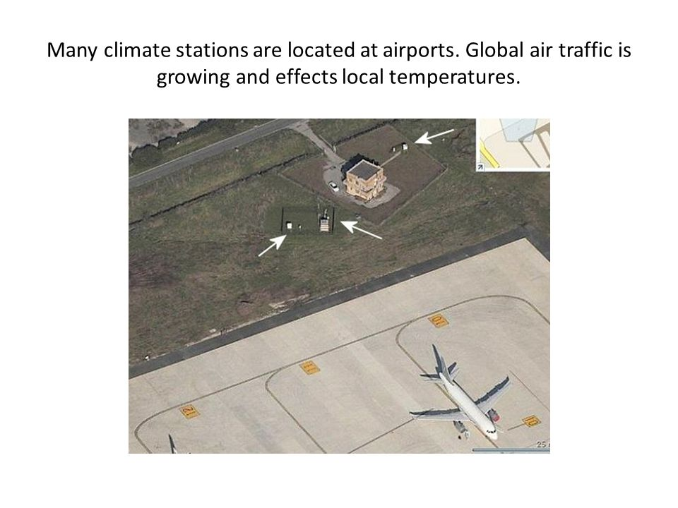 Many climate stations are located at airports