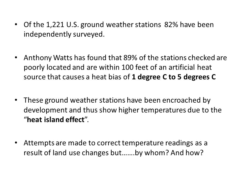 Of the 1,221 U.S. ground weather stations 82% have been independently surveyed.