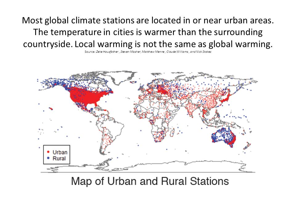 Most global climate stations are located in or near urban areas