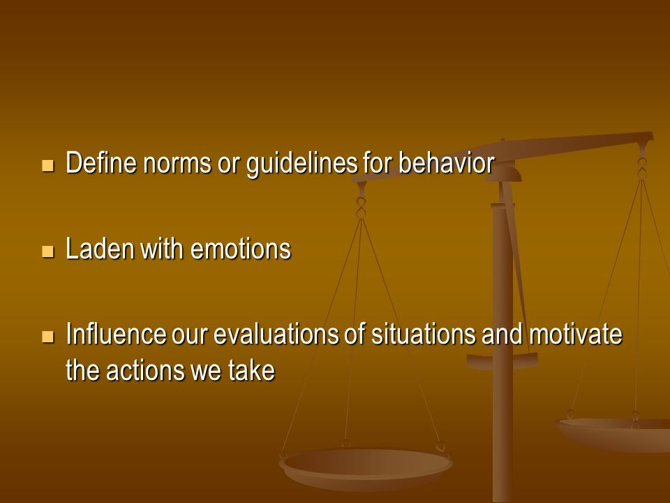 Define norms or guidelines for behavior