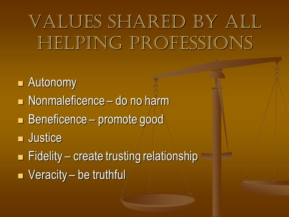 Values shared by all helping professions
