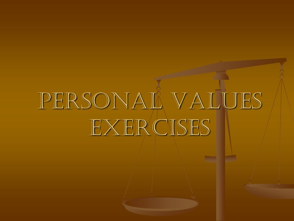 Personal values exercises