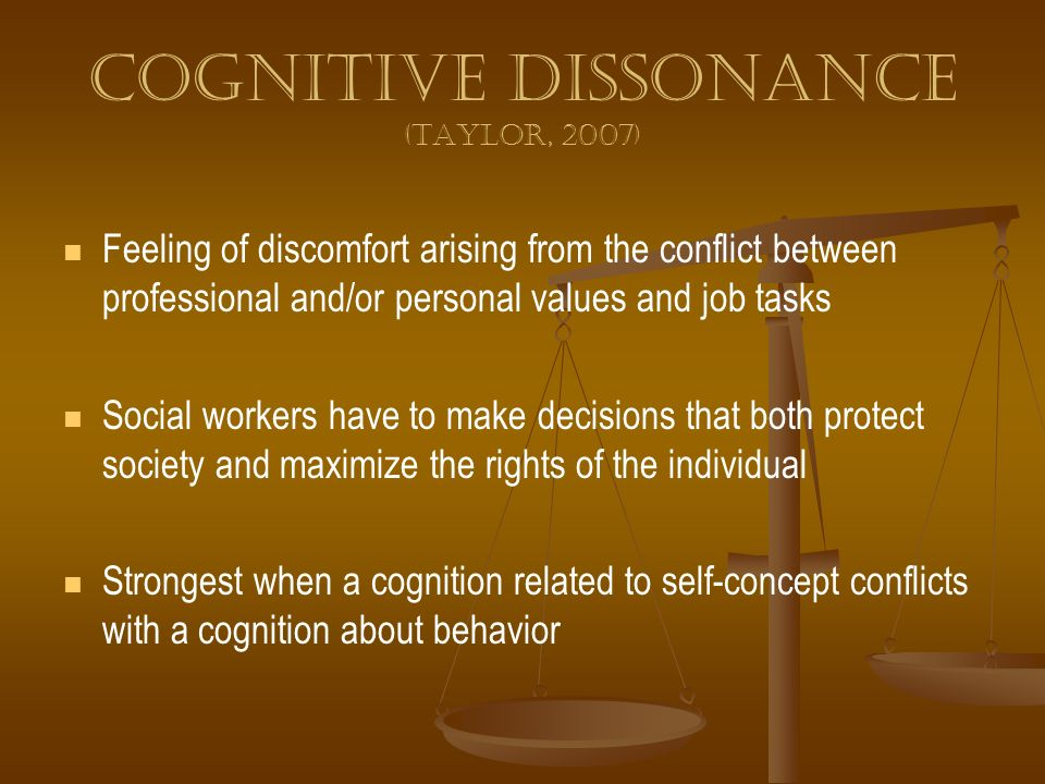 Cognitive dissonance (Taylor, 2007)