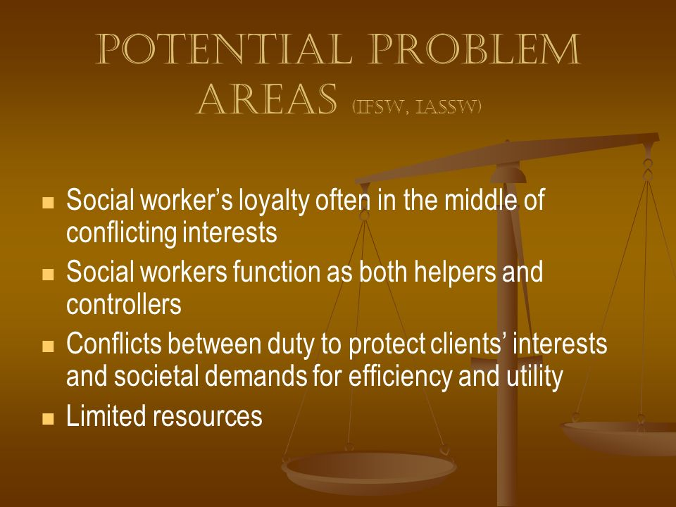 Potential problem areas (IFSW, IASSW)