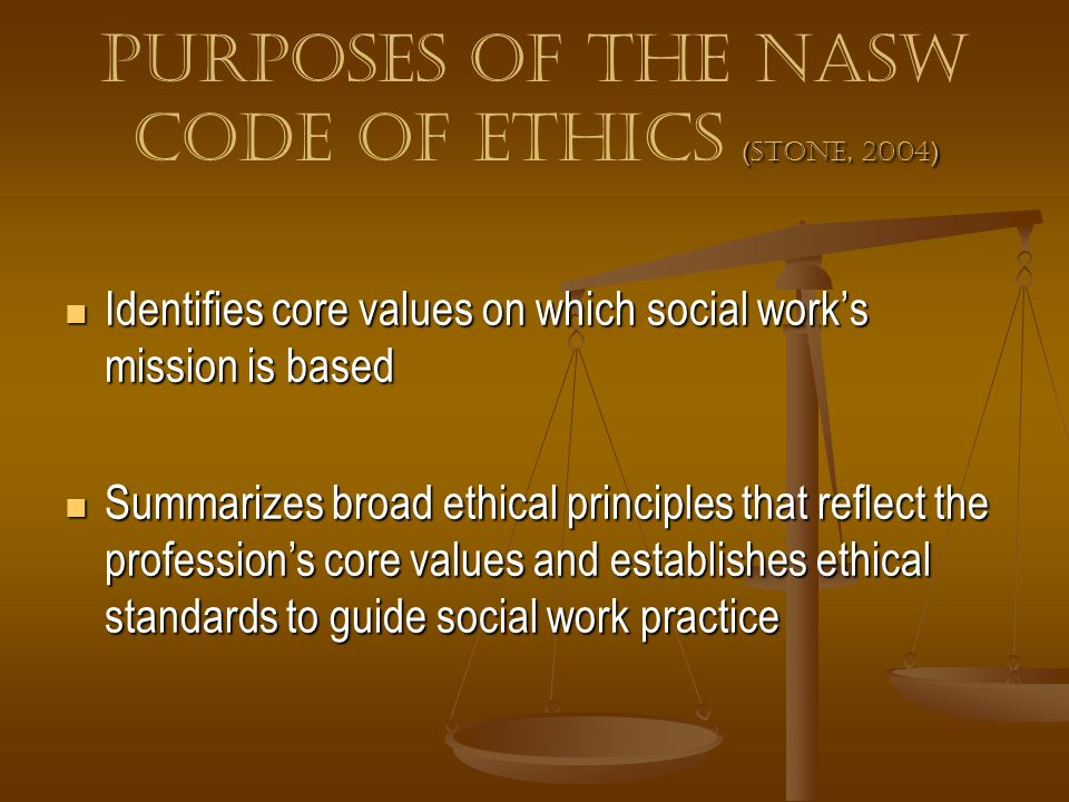 Purposes of the NASW Code of Ethics (Stone, 2004)