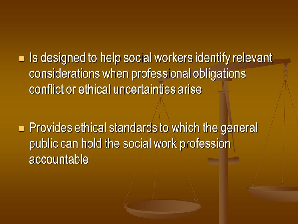 Is designed to help social workers identify relevant considerations when professional obligations conflict or ethical uncertainties arise
