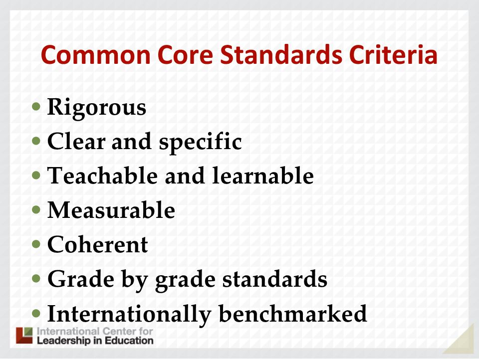 Common Core Standards Criteria