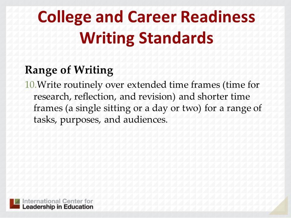 College and Career Readiness Writing Standards
