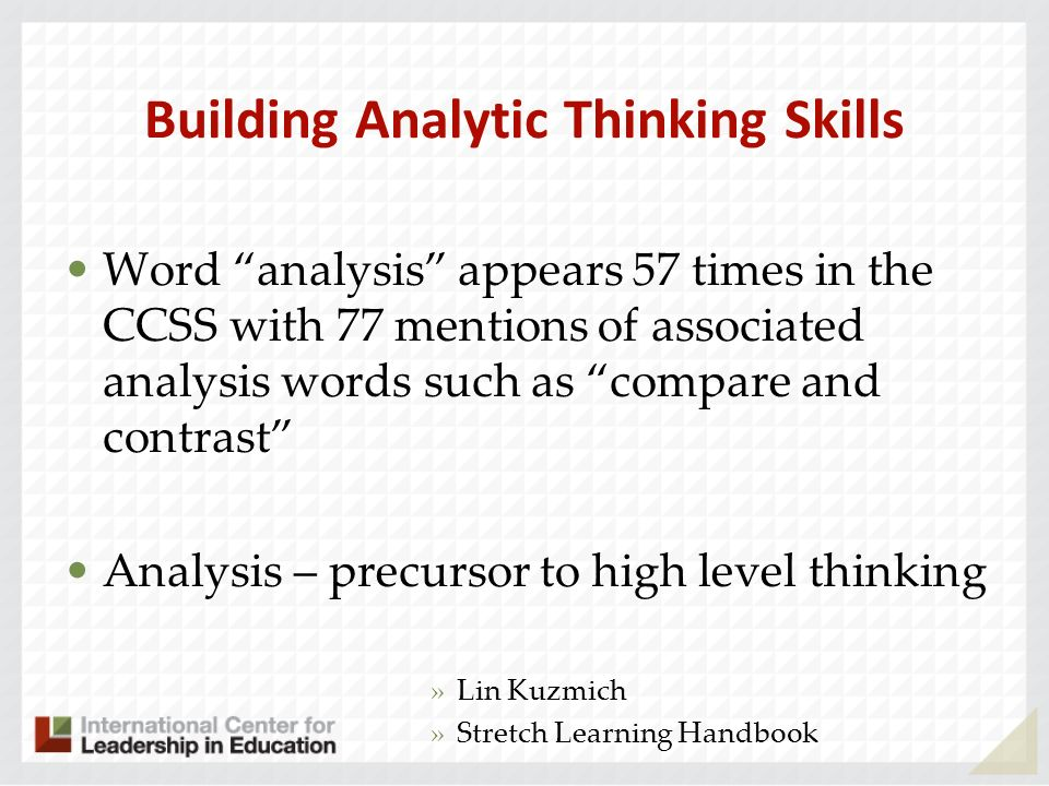 Building Analytic Thinking Skills