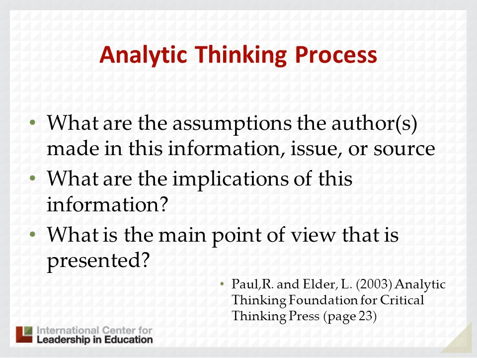 Analytic Thinking Process