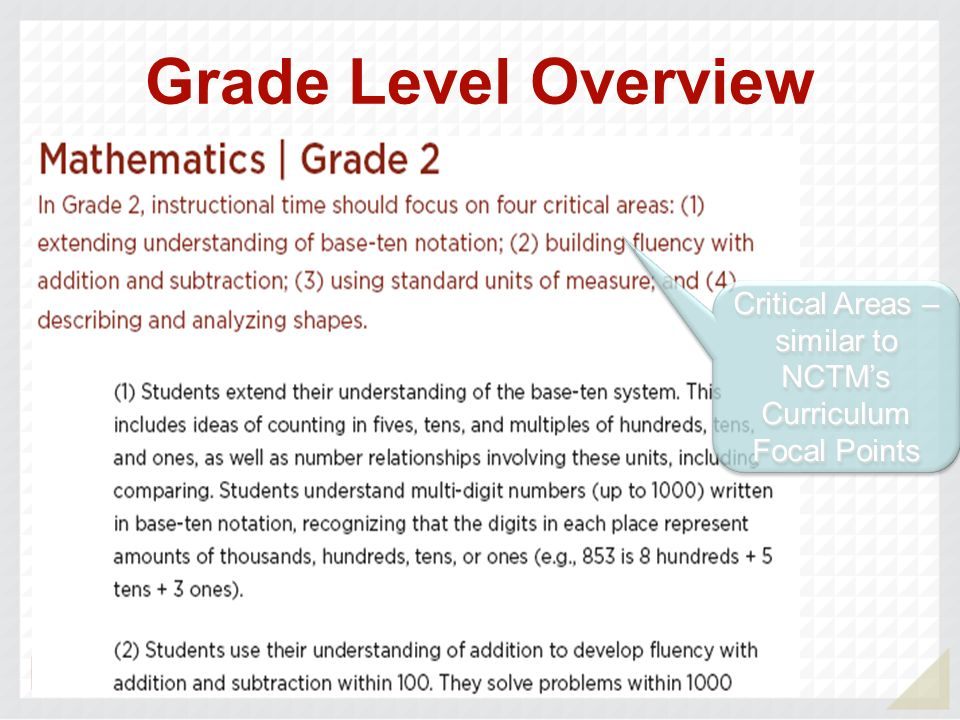 Critical Areas – similar to NCTM's Curriculum Focal Points