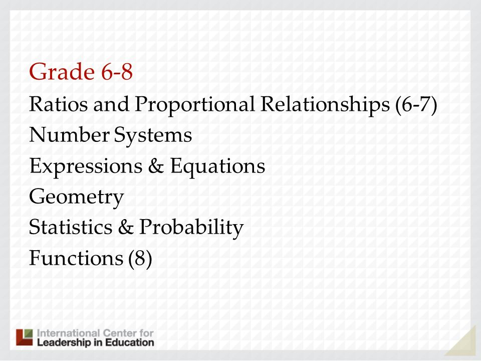 Grade 6-8 Ratios and Proportional Relationships (6-7) Number Systems