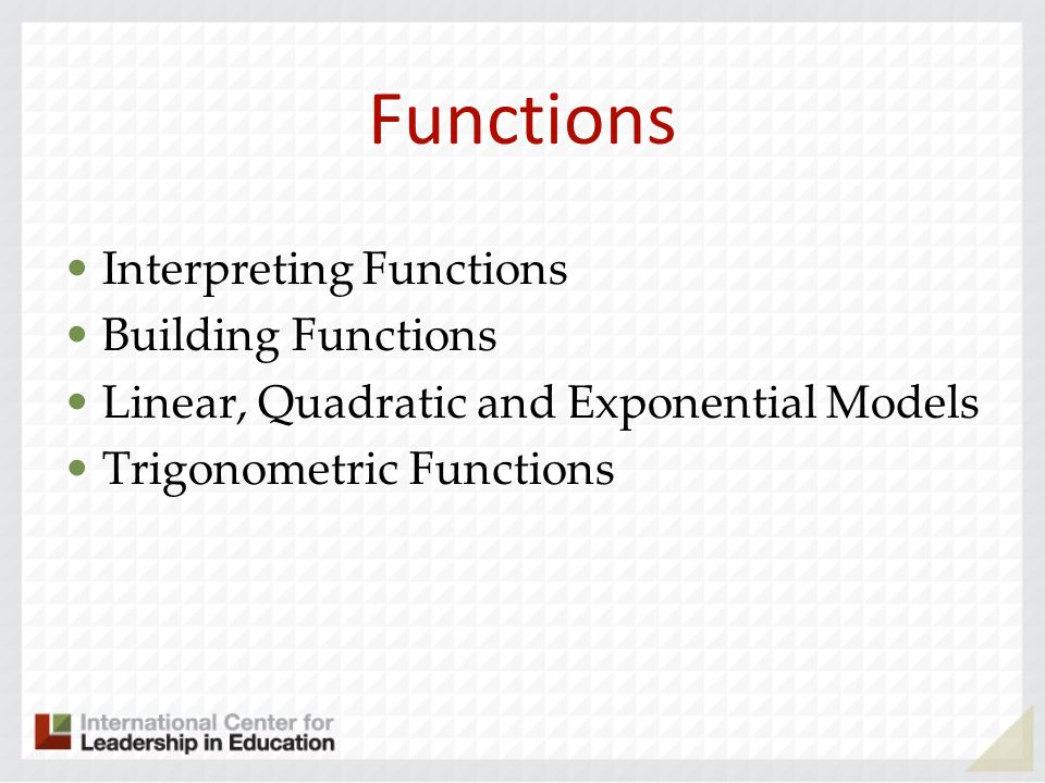 Functions Interpreting Functions Building Functions