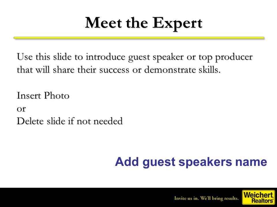 Meet the Expert Add guest speakers name