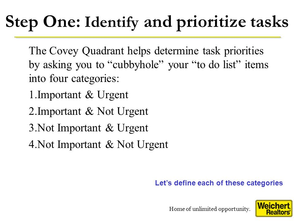 Step One: Identify and prioritize tasks